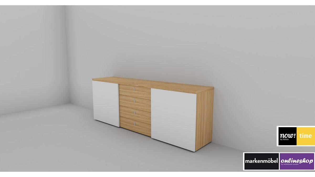 hülsta NOW! TIME Sideboard #4340 in der Ausführung Korpus Natureiche mit Schiebetüren in Lack-weiß