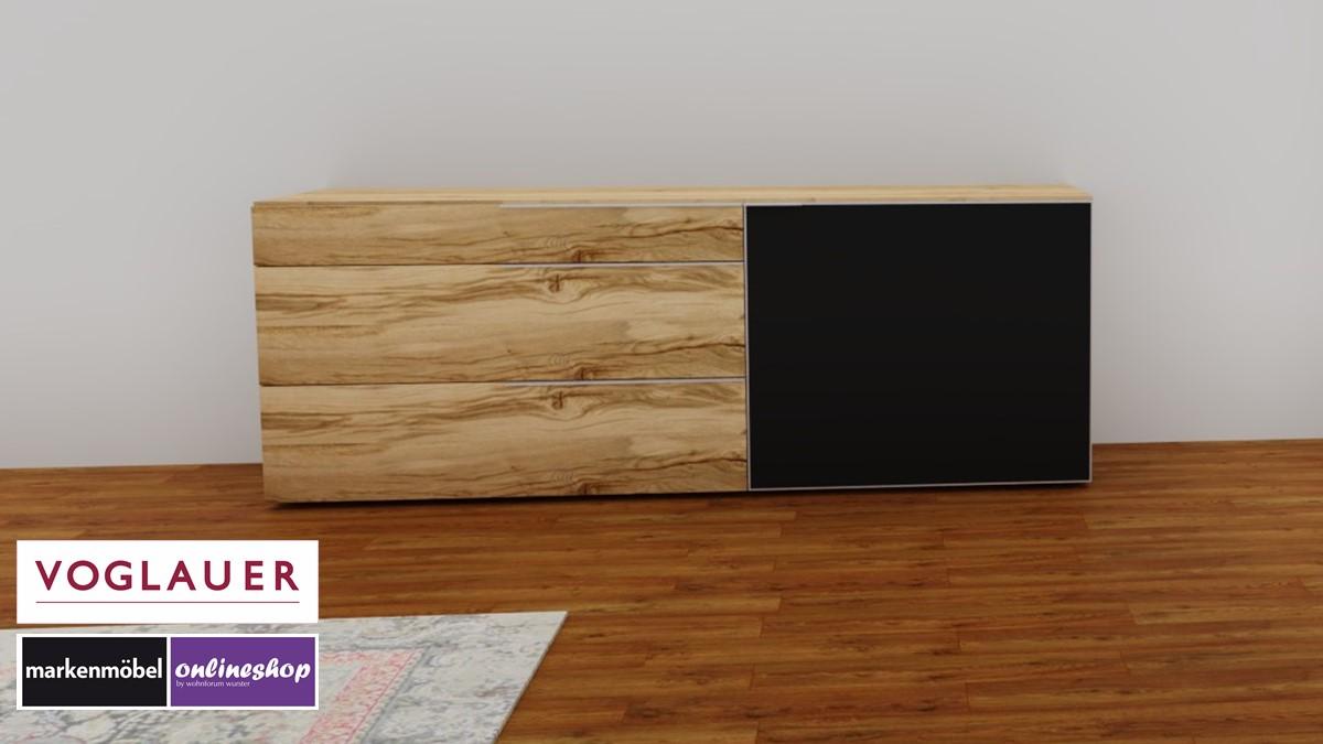 Alpin Sideboard mit Akzent in Colorglas anthrazit