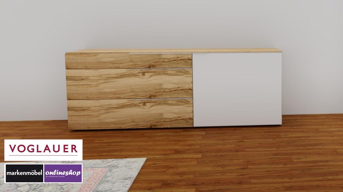 VOGLAUER V-Alpin Sideboard mit Akzent in Colorglas optiwhite