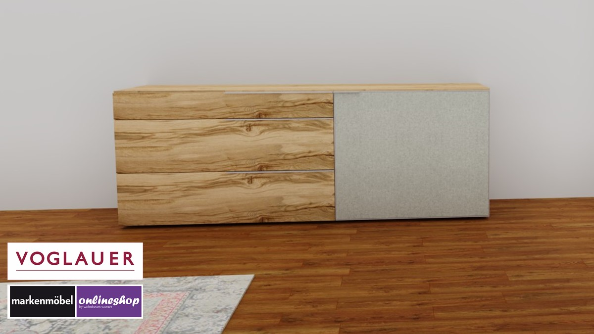 VOGLAUER V-Alpin Sideboard mit Akzent in Loden grauweiß