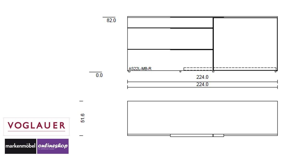 Technische Zeichnung zum VOGLAUER V-Alpin Sideboard