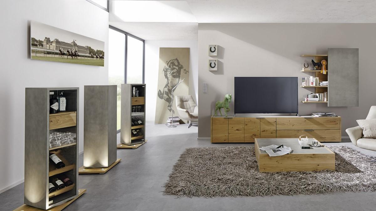 hülsta FENA Wohnzimmer-Bundle bestehend aus Wohnwand, Couchtisch und 3  Vitrinen!