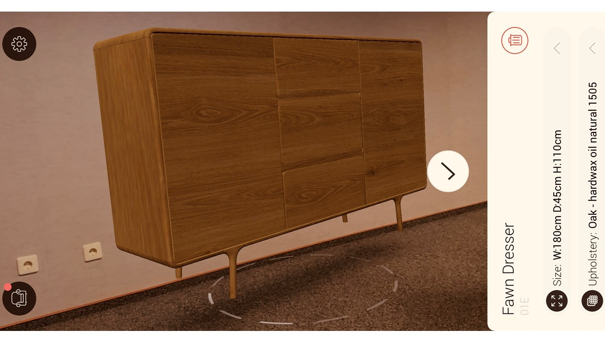GAZZDA Fawn Sideboard in der Augmented Reality Darstellung der GAZZDA App