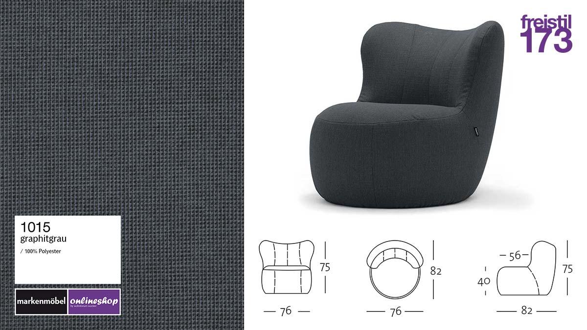 freistil 173 Sessel #1015 graphitgrauer Stoff-Bezug