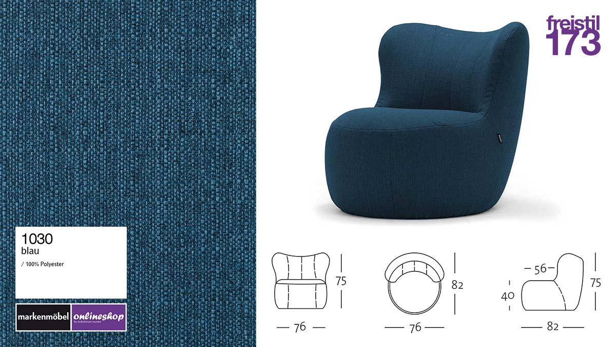 freistil 173 Sessel im Stoff-Bezug #1030 blau