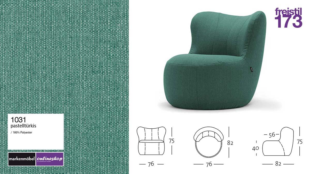 freistil 173 Sessel im Stoff-Bezug #1031 pastelltürkis