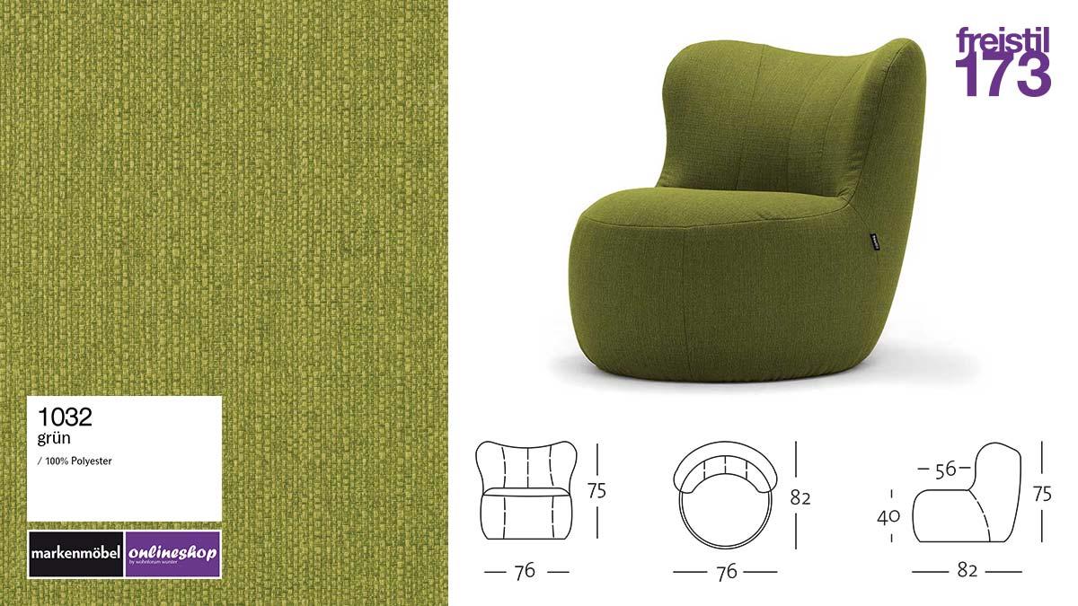 freistil 173 Sessel im Stoff-Bezug #1032 grün
