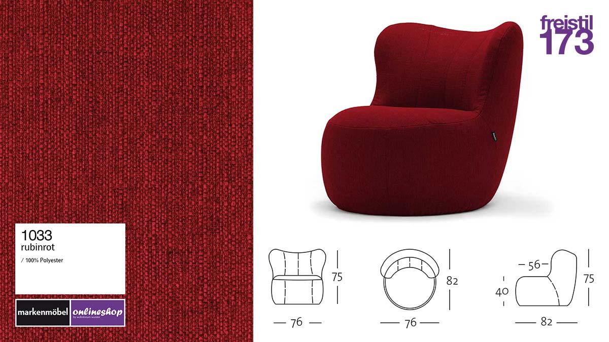 freistil 173 Sessel im Stoff-Bezug #1033 rubinrot