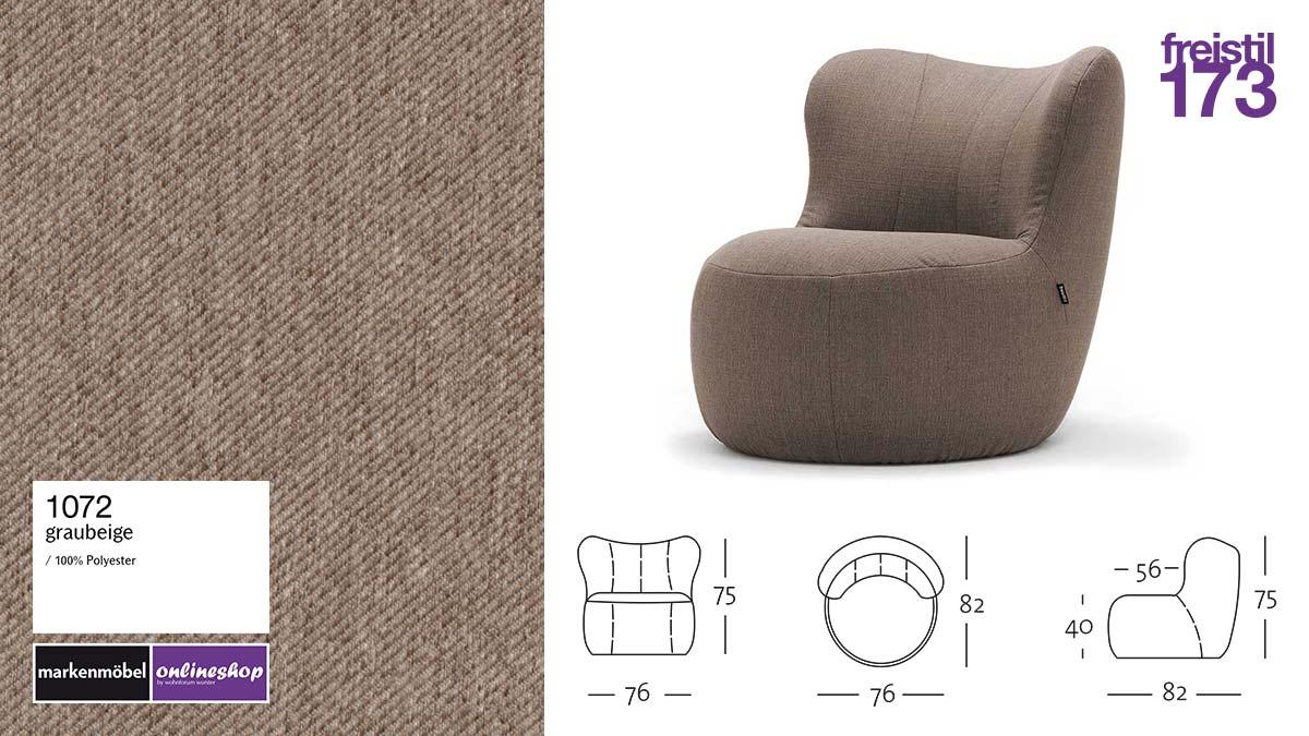 freistil 173 Sessel im Stoff-Bezug #1072 graubeige