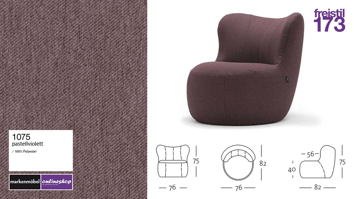 freistil 173 Sessel im Stoff-Bezug #1075 pastellviolett