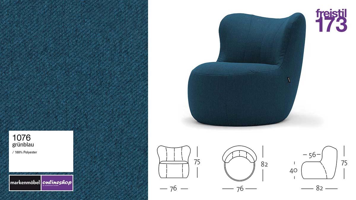 freistil 173 Sessel im Stoff-Bezug #1076 grünblau