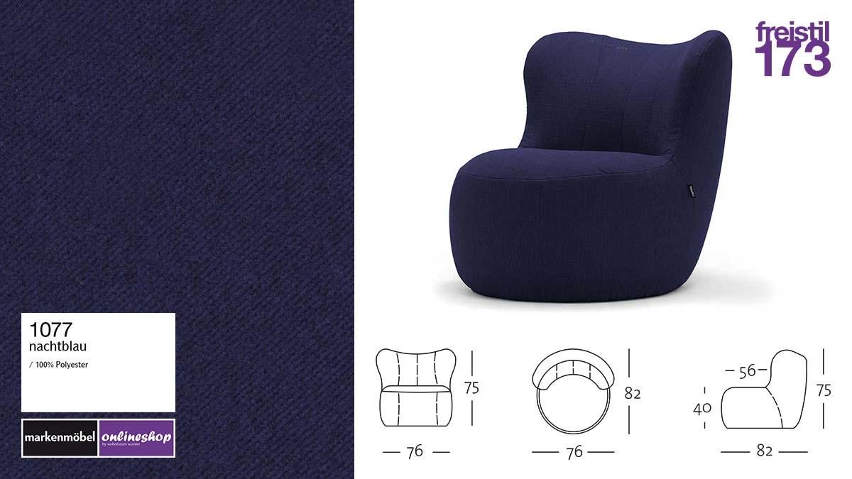 freistil 173 Sessel im Stoff-Bezug #1077 nachtblau