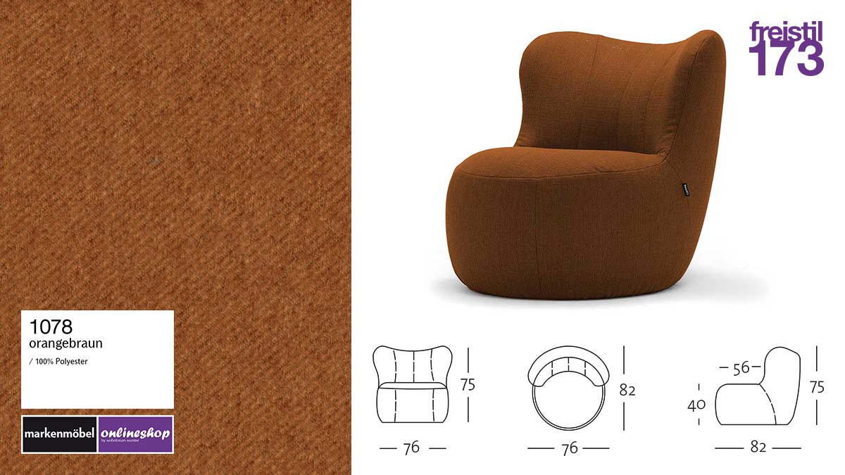 freistil 173 Sessel im Stoff-Bezug #1078 orangebraun