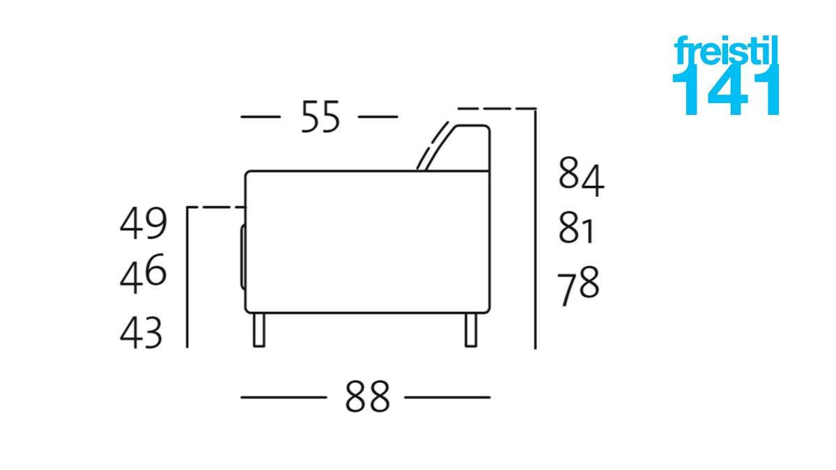 Illustration zur Sitzhöhe von freistil 141