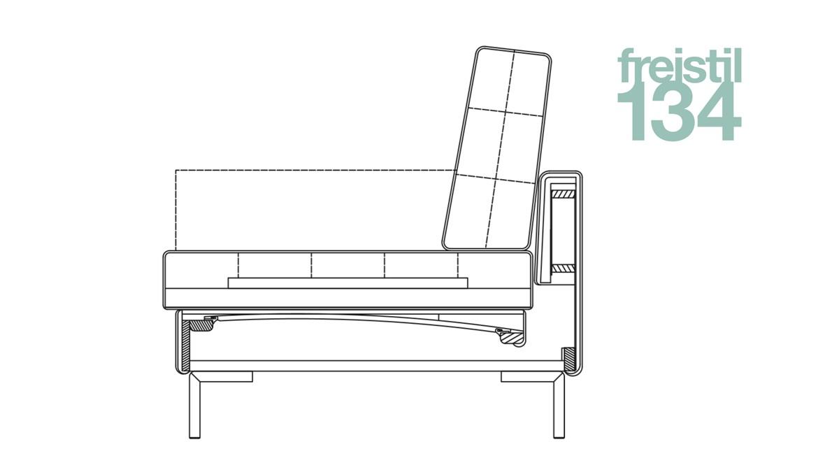 Technische Zeichnung zum Aufbau des Sofas freistil 134