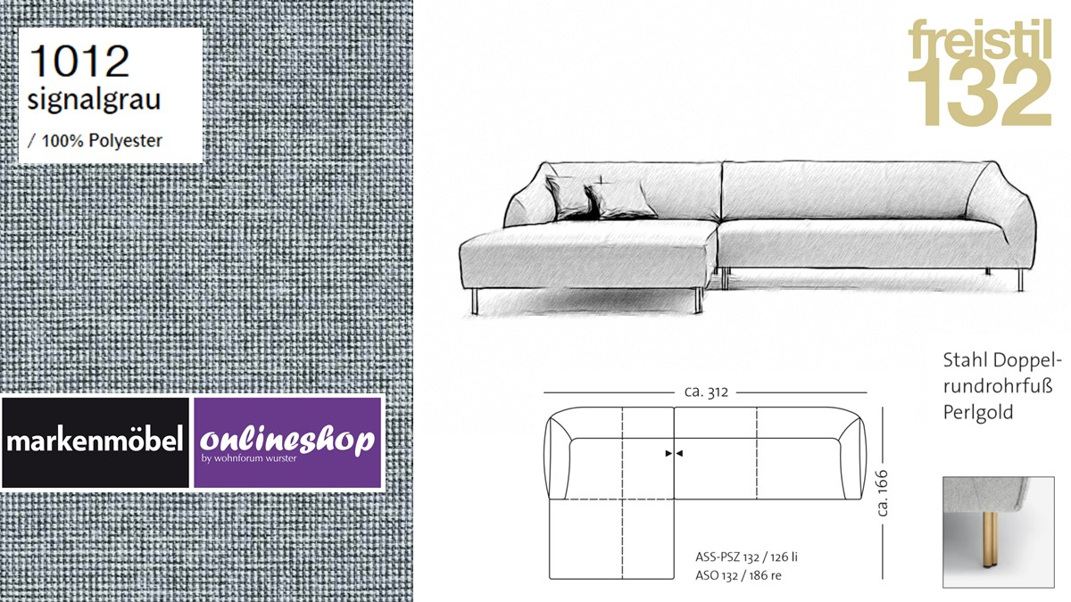freistil 132 Sofa - Kombinationsbeispiel 2 im Bezug 1012 signalgrau