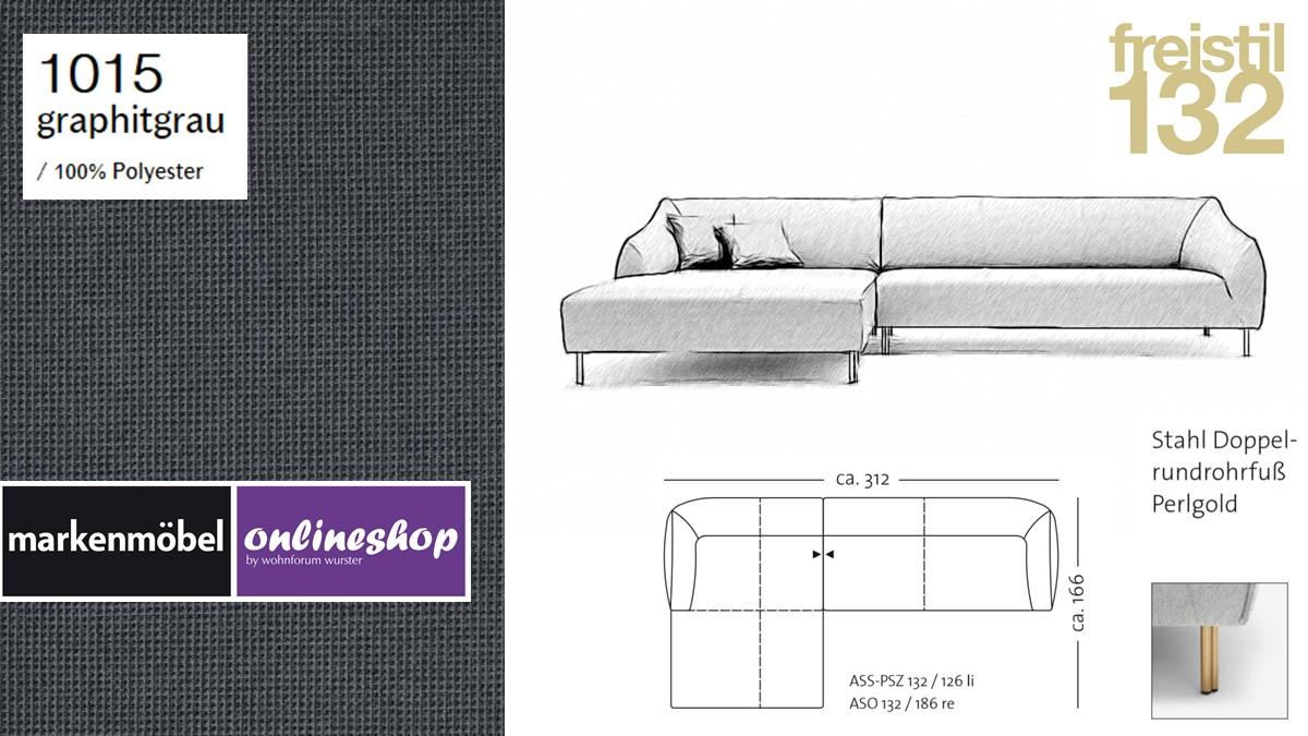 freistil 132 Sofa - Kombinationsbeispiel 2 im Bezug 1015 graphitgrau
