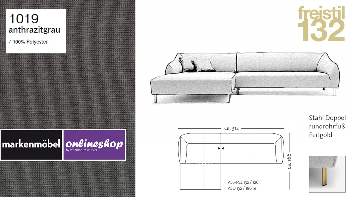 freistil 132 Sofa - Kombinationsbeispiel 2 im Bezug 1019 anthrazitgrau
