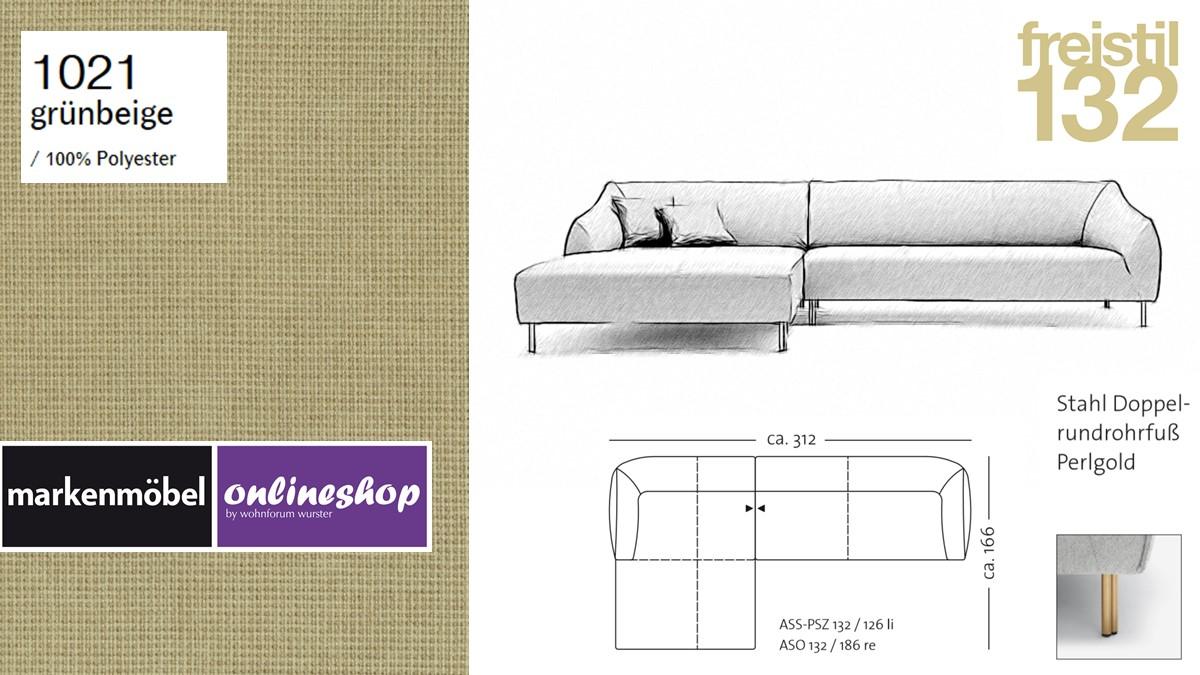 freistil 132 Sofa - Kombinationsbeispiel 2 im Bezug 1021 grünbeige