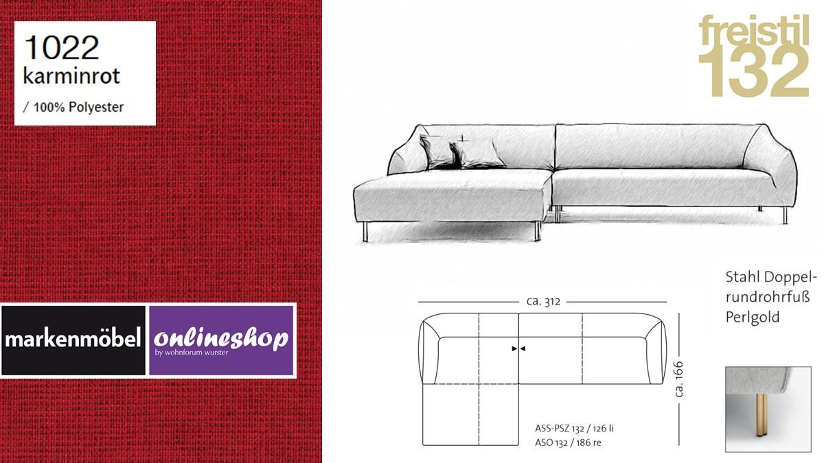 freistil 132 Sofa - Kombinationsbeispiel 2 im Bezug 1022 karminrot