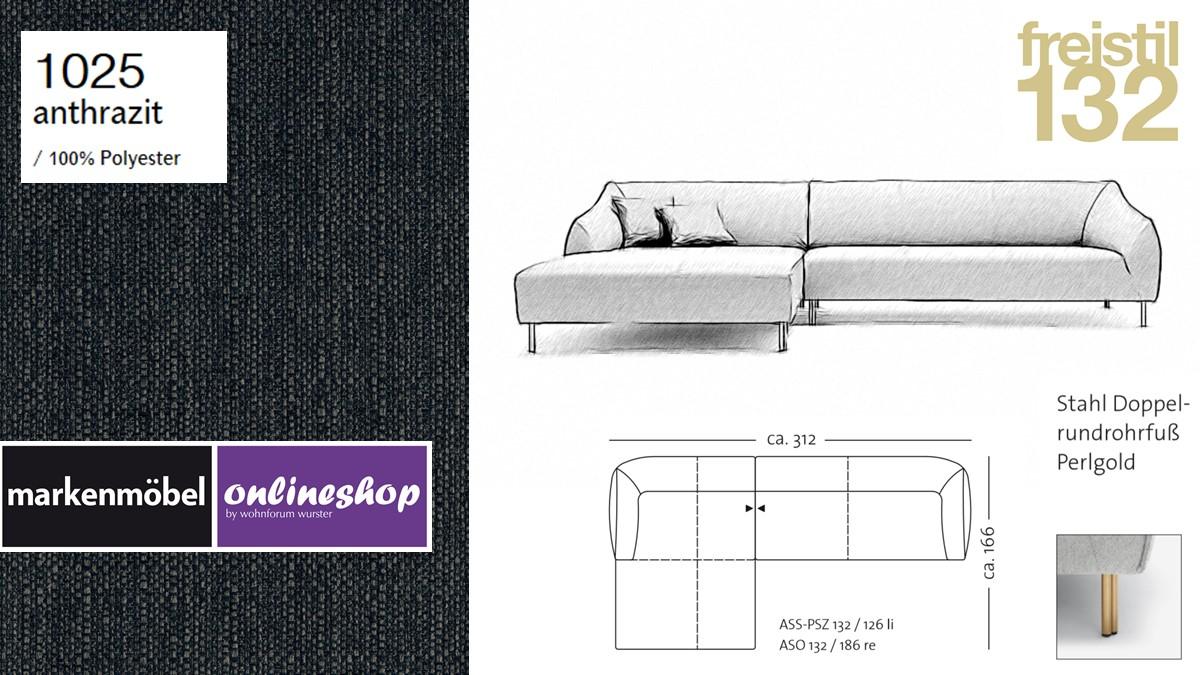 freistil 132 Sofa - Kombinationsbeispiel 2 im Bezug 1025 anthrazit