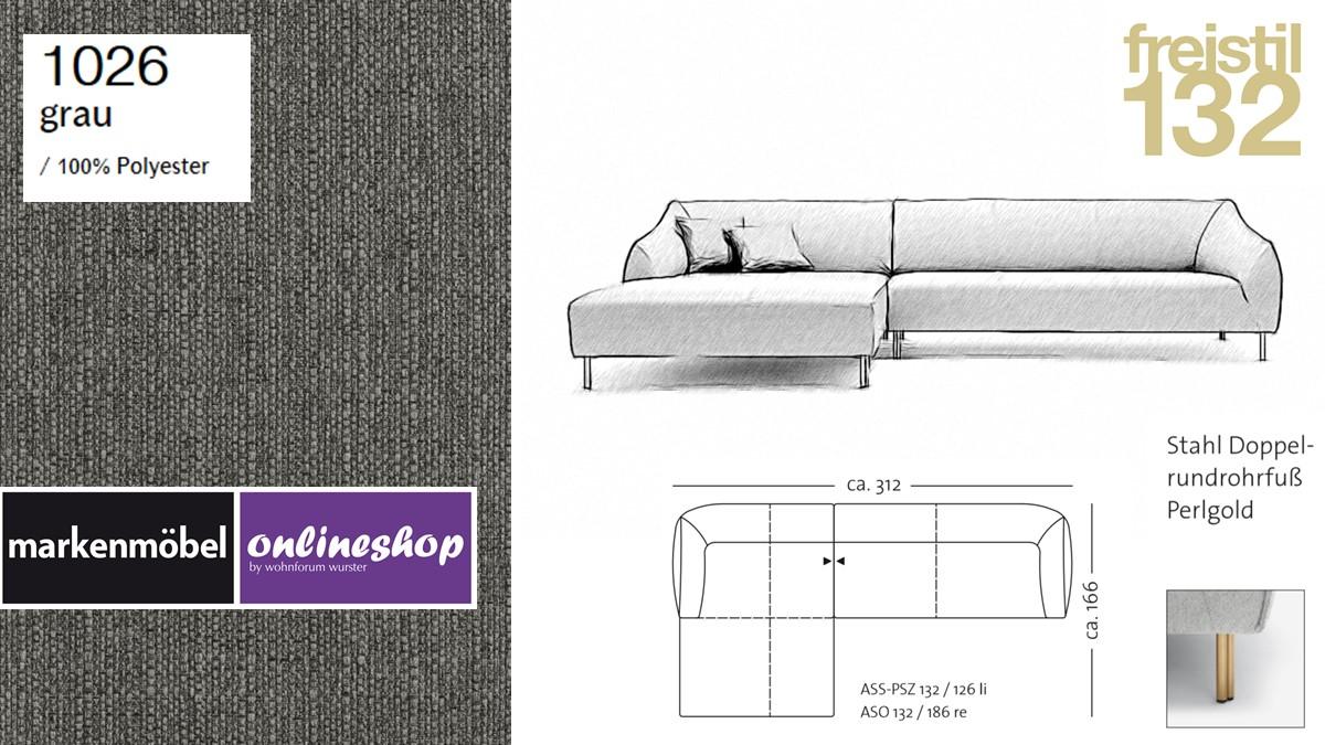 freistil 132 Sofa - Kombinationsbeispiel 2 im Bezug 1026 grau