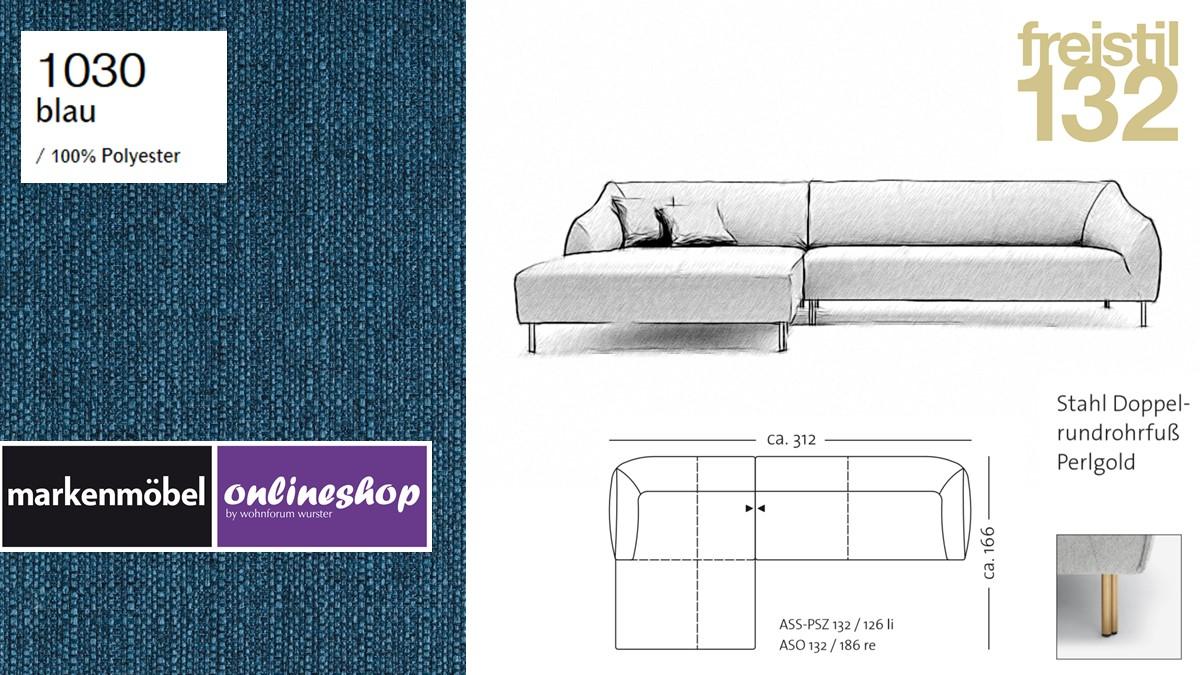 freistil 132 Sofa - Kombinationsbeispiel 2 im Bezug 1030 blau