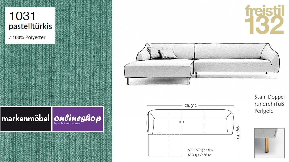 freistil 132 Sofa - Kombinationsbeispiel 2 im Bezug 1031 pastelltürkis