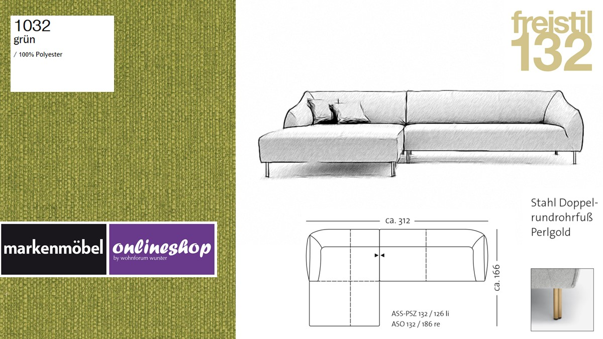 freistil 132 Sofa - Kombinationsbeispiel 2 im Bezug 1032 grün