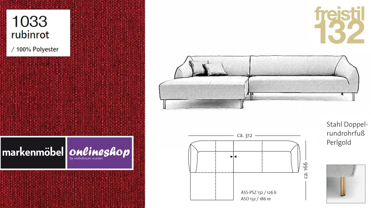 freistil 132 Sofa - Kombinationsbeispiel 2 im Bezug 1033 rubinrot