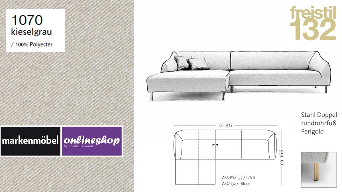 freistil 132 Sofa - Kombinationsbeispiel 2 im Bezug 1070 kieselgrau