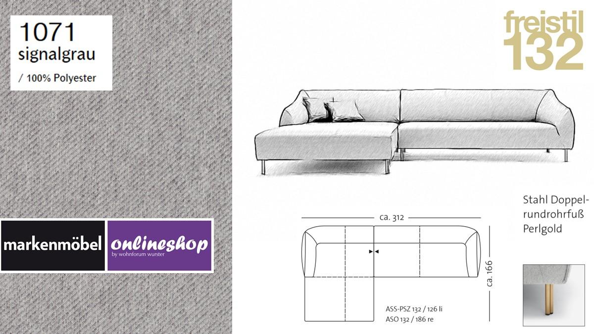 freistil 132 Sofa - Kombinationsbeispiel 2 im Bezug 1071 signalgrau