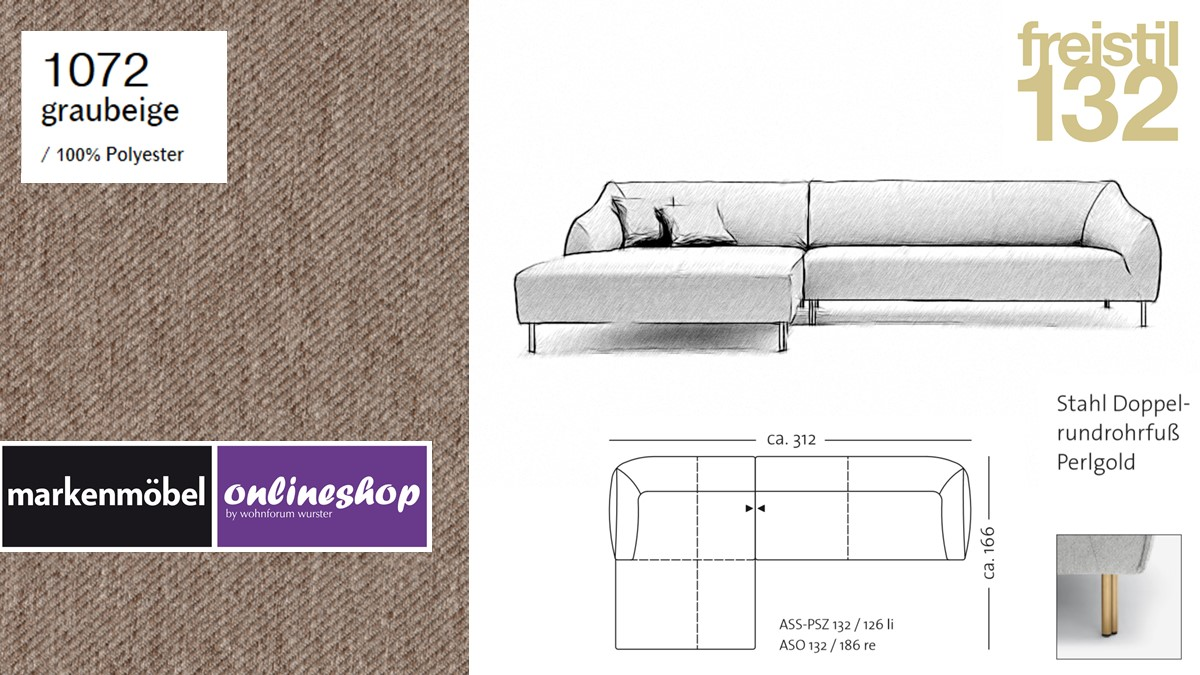 freistil 132 Sofa - Kombinationsbeispiel 2 im Bezug 1072 graubeige