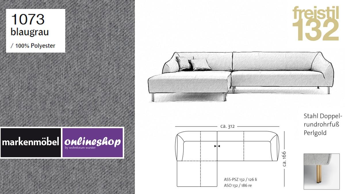 freistil 132 Sofa - Kombinationsbeispiel 2 im Bezug 1073 blaugrau
