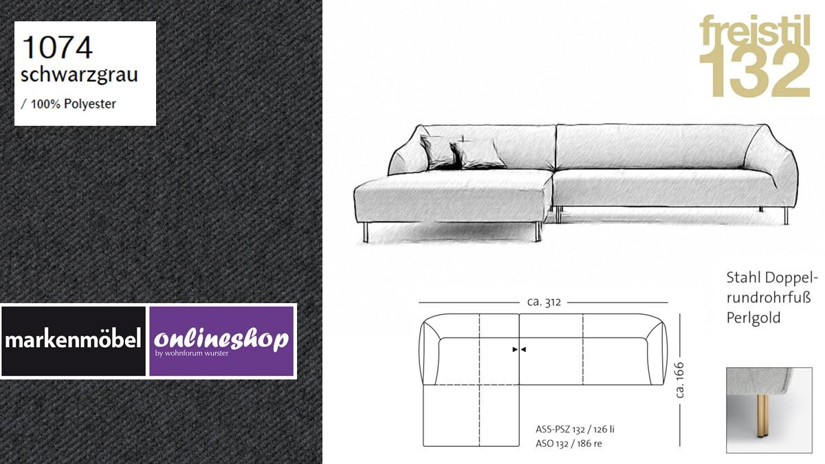 freistil 132 Sofa - Kombinationsbeispiel 2 im Bezug 1074 schwarzgrau