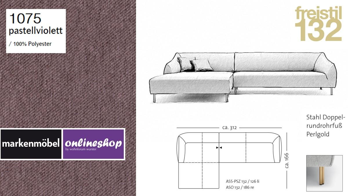 freistil 132 Sofa - Kombinationsbeispiel 2 im Bezug 1075 pastellviolett