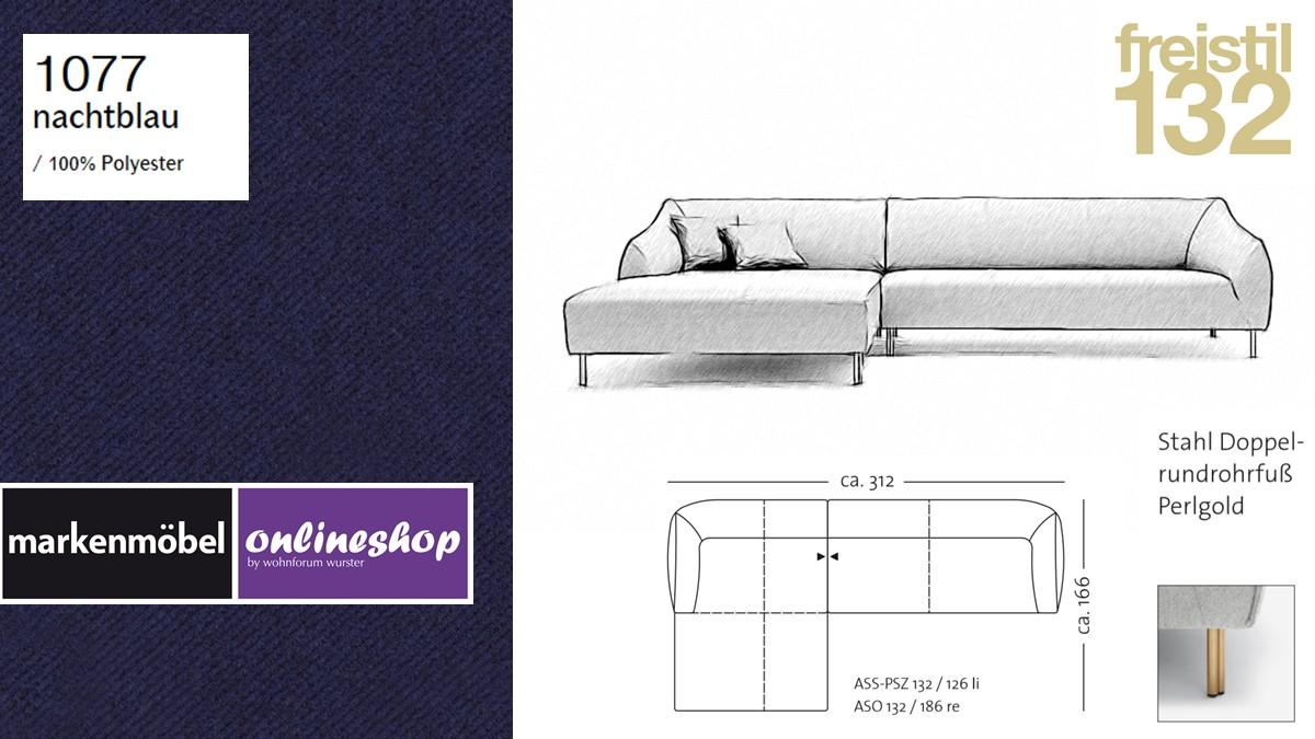 freistil 132 Sofa - Kombinationsbeispiel 2 im Bezug 1077 nachtblau