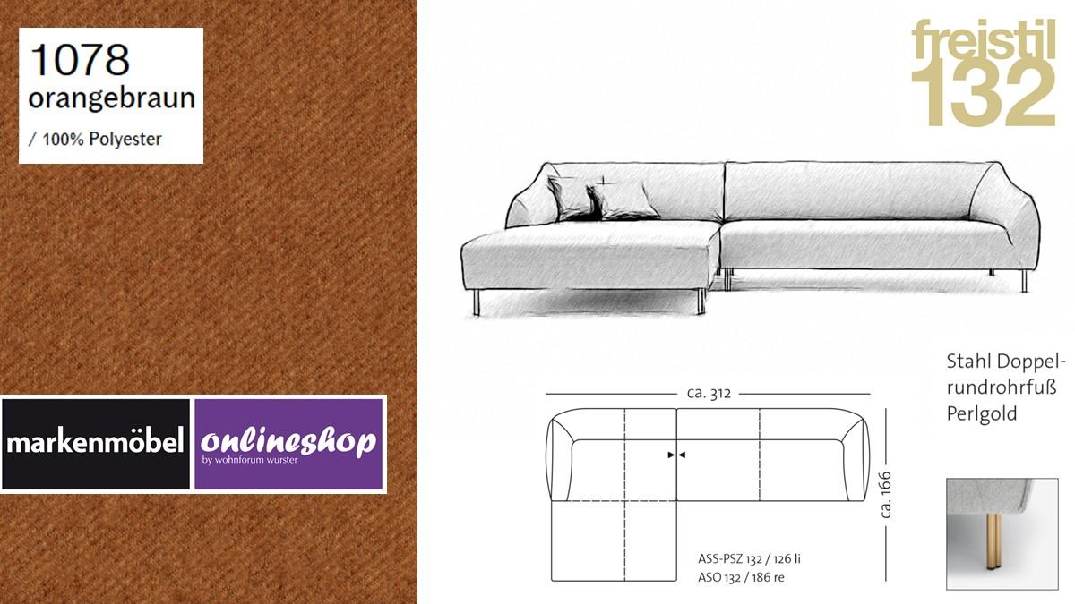 freistil 132 Sofa - Kombinationsbeispiel 2 im Bezug 1078 orangebraun