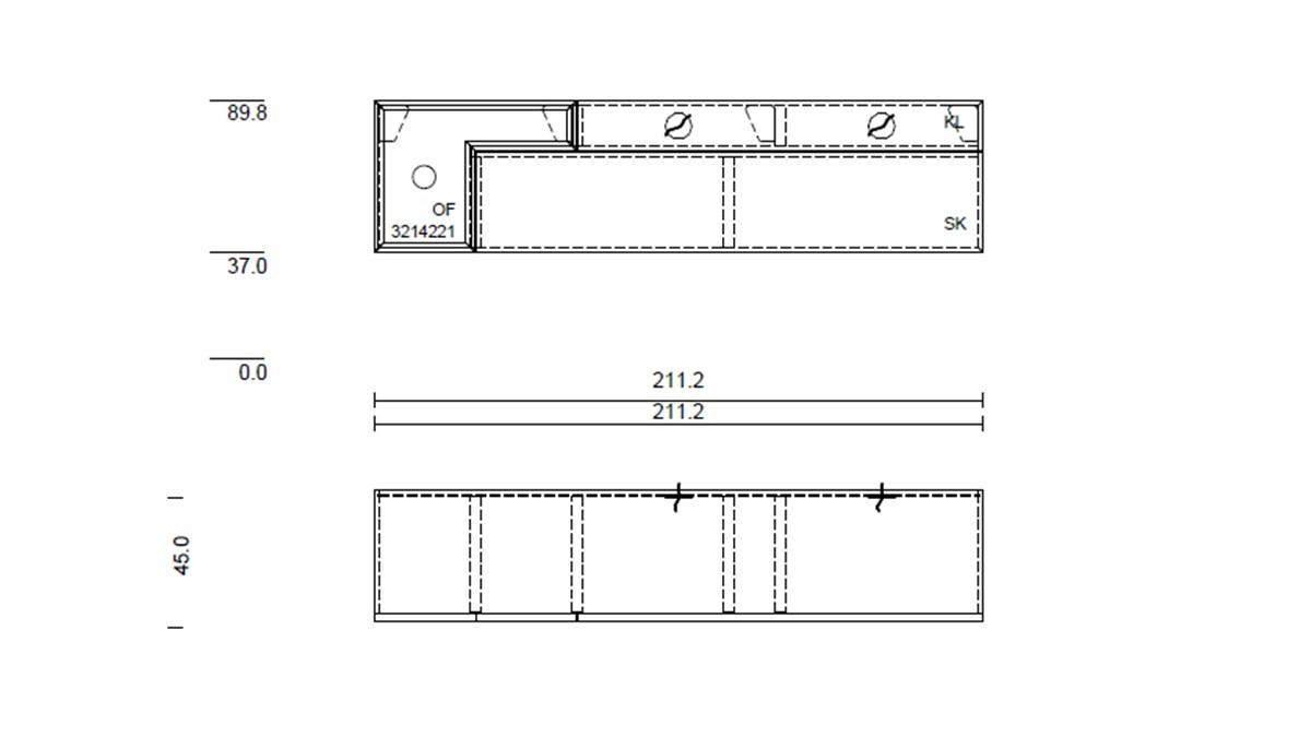 hülsta TETRIM Lowboard mit ca 211 cm Breite - technische Zeichnung mit Maßen