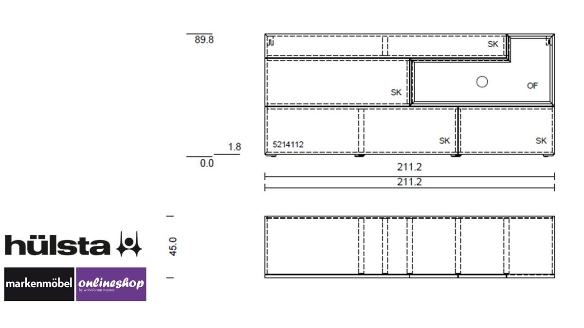 hülsta TETRIM Sideboard - technische Zeichnung
