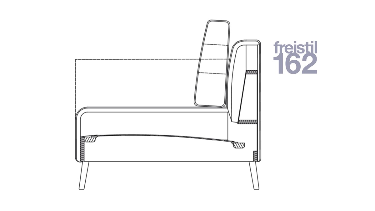 technische Zeichnung zum Sofa freistil 162