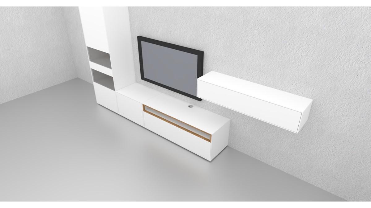 Diese NOW! EASY Wohnwand ist einerseits minimalistisch und puristisch. Zugleich bietet sie dank der Vitrine aber auch Stauraum.