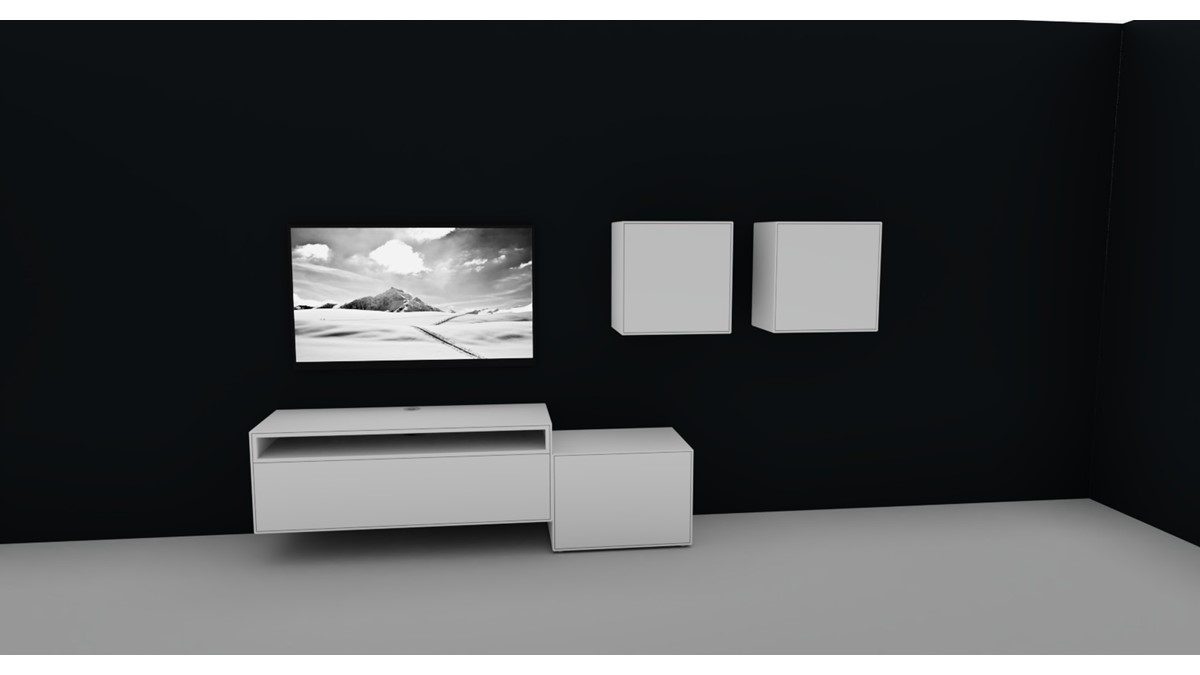 Hülsta NOW! EASY Wohnwand mit 2 Design-Boxen #980083 Akzent in Lack-reinweiß