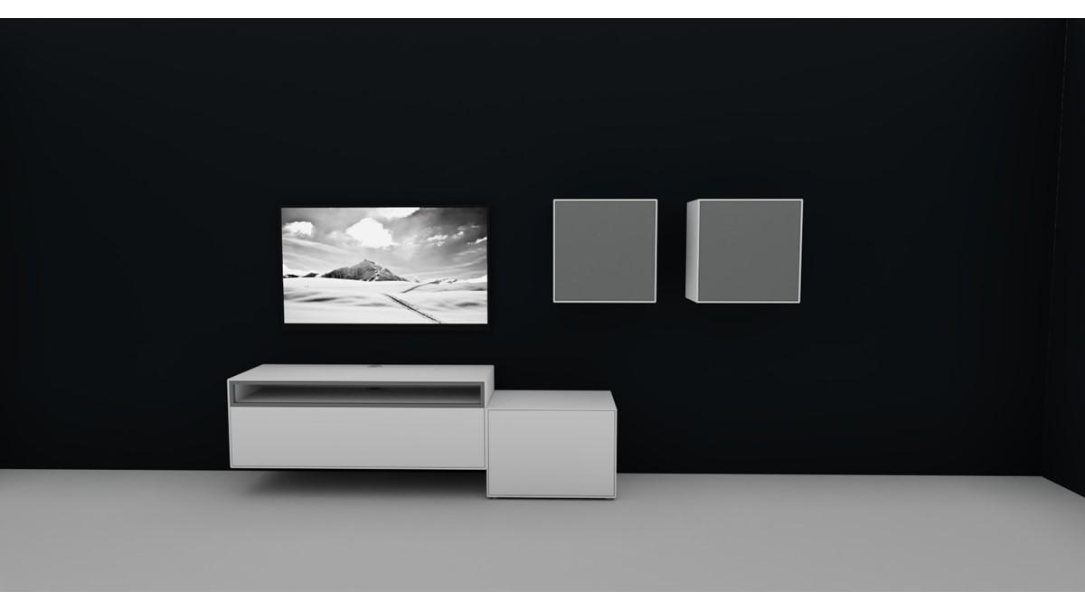 Hülsta NOW! EASY Wohnwand mit 2 Design-Boxen #980084 Akzent in Lack-hellgrau