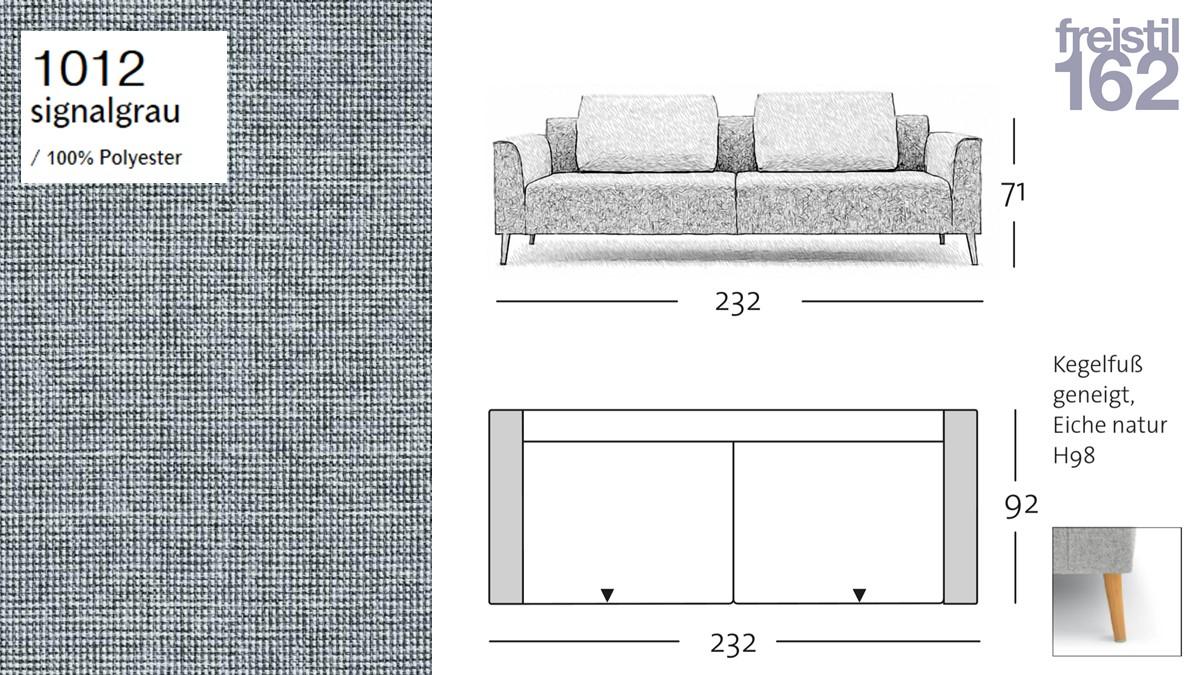 freistil 162 Sofa - 232 cm Breite - im Bezug 1012 signalgrau