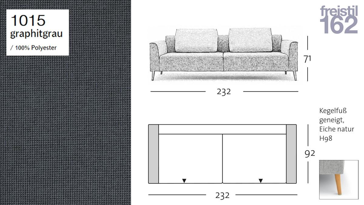 freistil 162 Sofa - 232 cm Breite - im Bezug #1015 graphitgrau