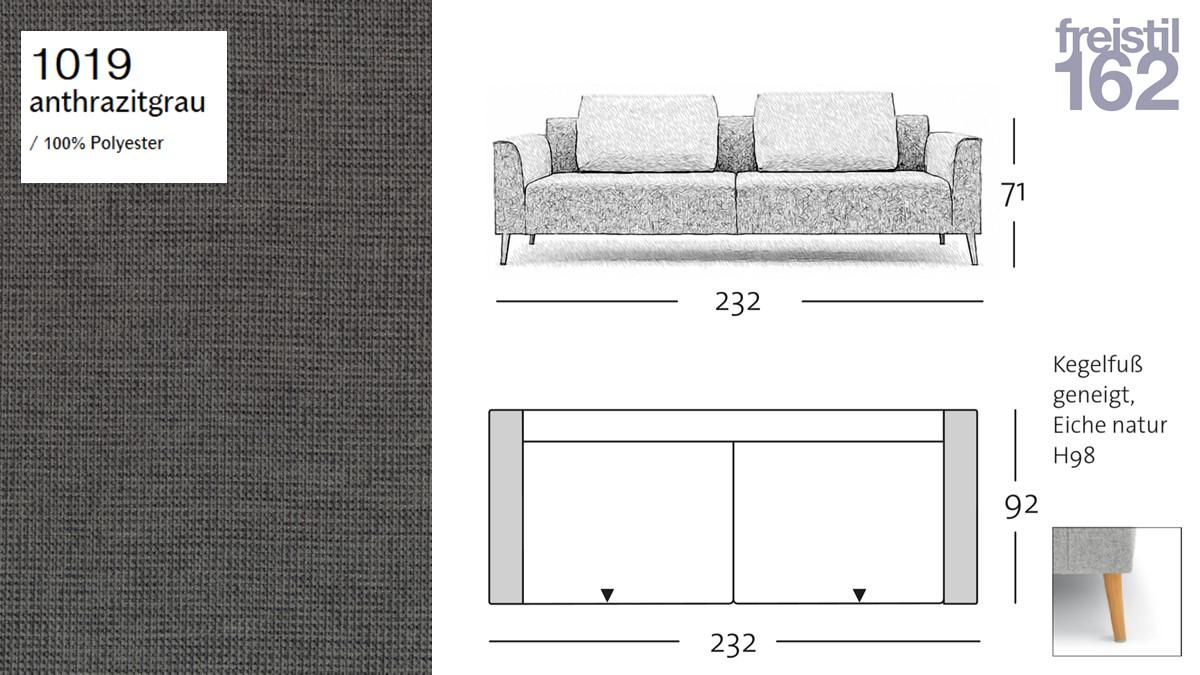 freistil 162 Sofa - 232 cm Breite - im Bezug #1019 anthrazitgrau