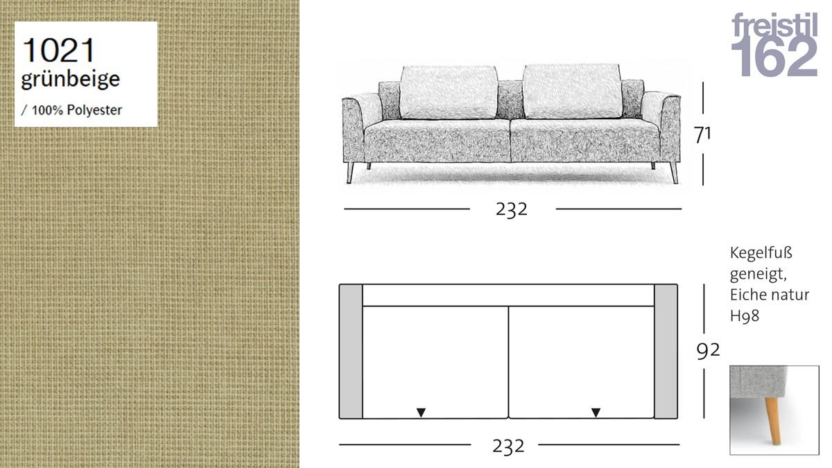 freistil 162 Sofabank - 232 cm Breite - im Bezug #1021 grünbeige