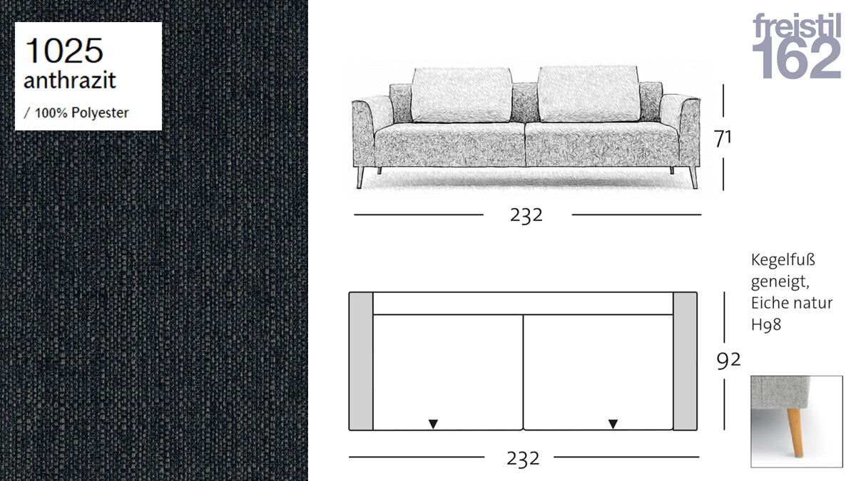 freistil 162 Sofabank - 232 cm Breite - im Bezug #1025 anthrazit