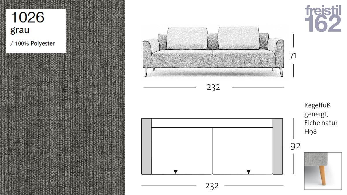 freistil 162 Sofabank - 232 cm Breite - im Bezug #1026 grau